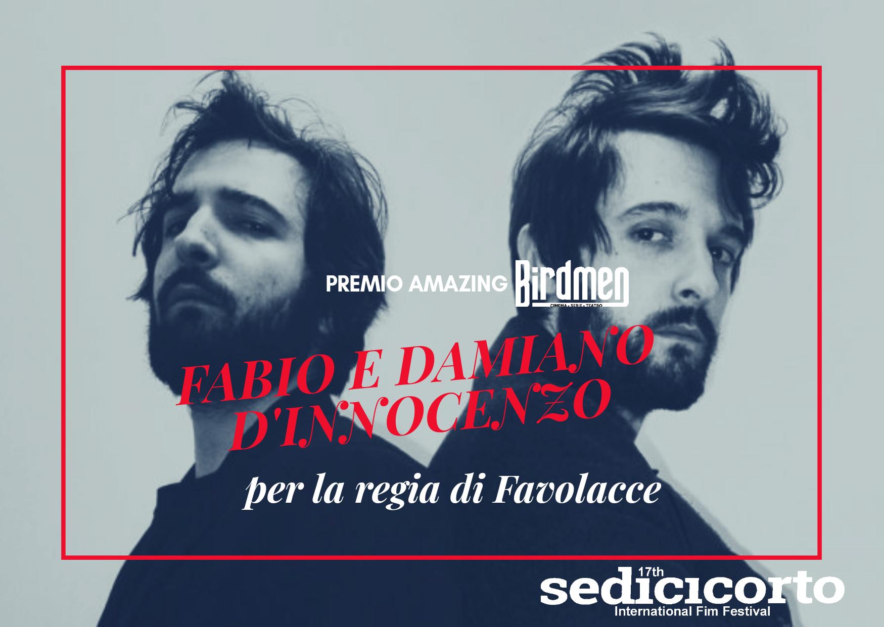 Premio Amazing Birdmen 2020 a Damiano e Fabio D'Innocenzo